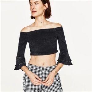 Zara Black Denim Crop Bell Sleeves Top NWT